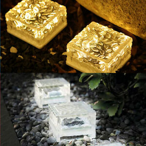 LED Solar Brick Lights Ice Cube Rock Lamp Outdoor Garden Lights Path Patio Decor