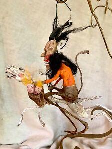 "HANDMADE CREEPY CHRISTMAS KRAMPUS RIDING SKELLY HORSE 7 """