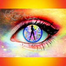 NIK TOD ORIGINAL PAINTING LARGE SIGN ART ABSTRACT COLORFUL EYE WOMAN SILHOUETTE