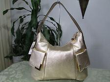 NWT Michael Kors Leather Beverly Large TZ Shoulder Bag Hobo Gold