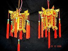 2 CHINESE L 17cm RED GOLD DRAGON PALACE LANTERN LIGHT WEDDING BIRTHDAY PARTY A1