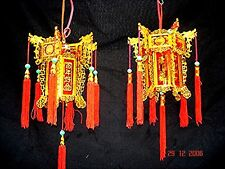 2 CHINESE L 17cm RED GOLD DRAGON PALACE LANTERN LIGHT WEDDING BIRTHDAY PARTY A2