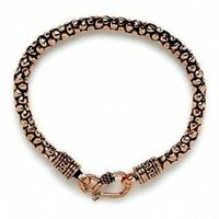 Handcrafted Antiqued Solid Copper Nugget Texture Chain Bracelet 8 inches