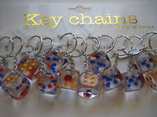 Lot 12 pc 18mm Dice Key Chains  / Free Shipping