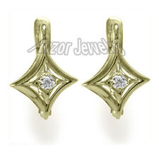 Russian Style Earrings Genuine Diamond .10cwt G-VS1. 3.30 Grams 14k Gold