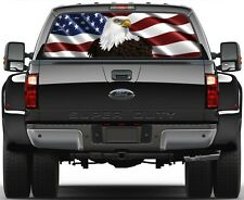 USA American Flag Bold Eagel Rear Window Graphic Decal for Truck SUV Vans Ver 2