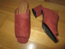 Next terracotta faux suede block heel mules shoes size 5.5 brand new & tag