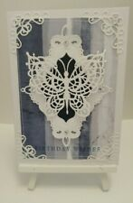 Handmade Birthday Card: Lace butterfly(Navy)