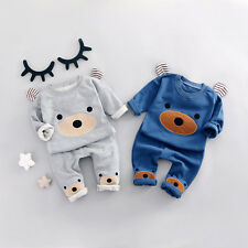 2Pcs Toddler Kids Baby boys Little Bear tops + pants outfits&set kid Clothing
