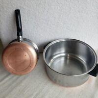 Vintage EKCO Flint Stainless Steel 2qt & 5qt Sauce Pans Pots With No Lids USA