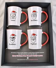 Boxed Set of 4 Christmas Coffee Cup Mugs Lover Fighter Gambler Dreamer Santa Hat