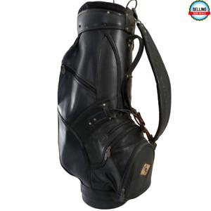 Burton Eagle Logo Leather / Vinyl 8 Way Divider Staff  Golf Bag Black 7 Pockets