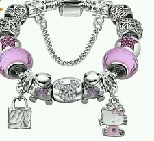 HELLO KITTY SILVER PLATED CHARM BEAD BRACELET 19CM  NEW
