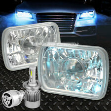 "SQUARE CHROME PROJECTOR HEADLIGHT+WHITE LED H4 HID W/FAN FOR 7"" 7X6 DIAMOND CUT"