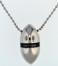 """Silver Egg With """"Love Forever"""" Cremation Jewelry Keepsake Urn Pendant Necklace"""
