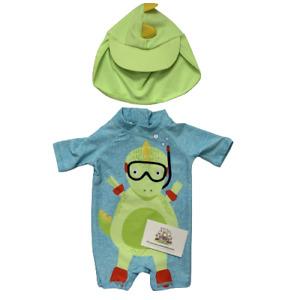 Baby Boys Dinosaur Sunsafe Swimsuit Keppi Hat Swimwear 2 Piece Toddler Ex Store