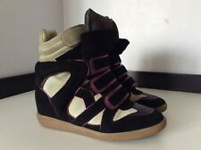 Isabel Marant Beckett Black Suede Boots Sneakers Hi Tops Size 38 Uk 5 Box