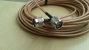 US MADE    N plug  TO  N  plug  MIL-RG-400 coax cable  25 ft   ( male to male)