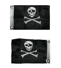 """12x18 Jolly Roger Patch Pirate Nylon Double Sided 12""""x18"""" Boat Flag"""