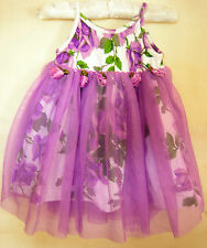 Baby Girls Purple Floral Cotton Poly Summer Party Dress Betsey Johnson Size 3-6m