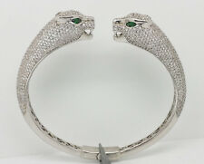 Platinum over Sterling Silver Dual Face Panther Bangle Bracelet Retails $680.