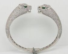 Platinum over Sterling Silver Dual Face Panther Bangle Bracelet Retails $680.