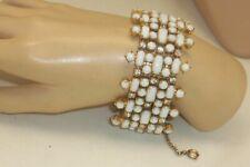 Vintage Bold Wide Milk Glass Cabochon Clear Rhinestone Statement Link Bracelet