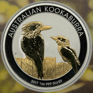 2017 AUSTRALIAN KOOKABURRA $1 PARTIAL GOLD PLATED EDITION 27/1000 PROOF SILVER