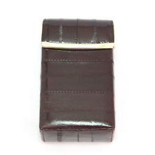 Eel Leather Cigarette Case Tobacco Lighter holder hard case Dark Brown