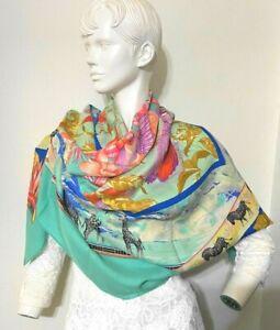 Auth HERMES 140cm Scarf  shawl Tropiques Silk 35% cachmire 65% Multi-color #0881