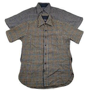 Vintage Pendleton Men's Medium Blue Brown Plaid Short Sleeve Button Wool Shirts