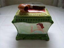 Antique RARE Majolica Tobacco Humidor Jar Rectangular PIPE on Lid vg Cond