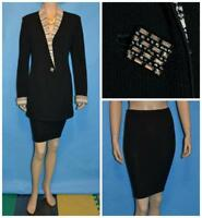 ST. JOHN Knits EVENING Black Jacket Skirt L 10 12 2pc Cream Trims Shimmer