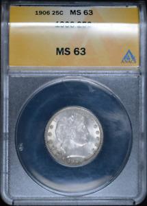:1906-P 25C Key-Date Barber-Quarter-Dollar ANACS Choice-MS-63 Low-Pop High-Grade