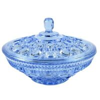 """Indiana Glass Windsor Covered Candy Bowl 7.5"""" Blue Button and Cane Pattern USA"""