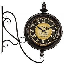 Home Station Style Brown Double Sided Decorative Wall Clock