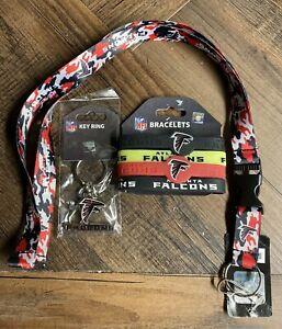 NFL Atlanta Falcons 3 Piece Lanyard, Keychain & Bracelet Set Official Licensed