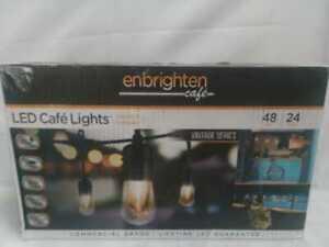 Enbrighten 24-Bulb 48 ft. Vintage Cafe Integrated LED String Lights, Black