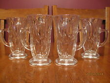 Set Of Four Aderia Glass (Japan) Footed Irish Coffee Clear Glass Mugs