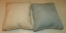 Pair of Light Blue Cream Decorative Print Throw Pillows  12 x 12