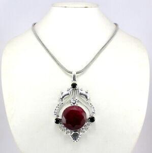 Necklace Pendant Ruby Quartz Natural Gemstone Handmade Chain Pendant Jewelry