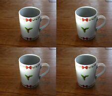 Christmas White China 4 Mug Set with Red and Green Yuletide Bow Holly Design