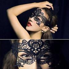 Superbe noir vénitien bal masqué masque yeux halloween party dentelle fantaisie Crds