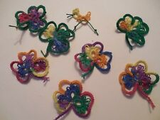 Tatted Shamrocks 7 Mexicana New Tatting Crazy Quilts Scrapbooks Cards Applique