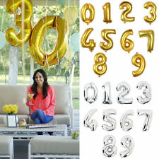 """16"""" Gold/Silver Mylar Foil Number Balloons Happy Birthday Anniversary Party 0-9"""