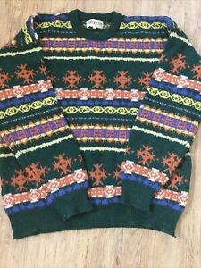 """Vintage Restricted 100% Shetland Wool Jumper Nordic Style Green 46"""" Chest XL"""