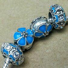 Ocean AQUA BLUE Cherry Blossom Flowers CZ Rhinestone Enamel European Bead Charms