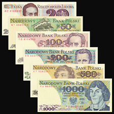 Poland 6 PCS Set (1982-1988),20,50,100,200,500,1000 Zlotych,UNC