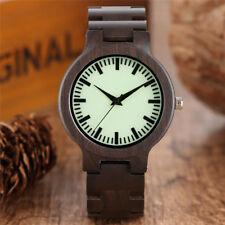Luminous Ebony Bamboo Analog Nature Wood Casual Wrist Watch Men Women Fold Clasp