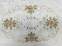 """Spring Embroidered Peach Floral Sheer Placemat Tray Cloth 11x17"""" 2PCS #3738W"""